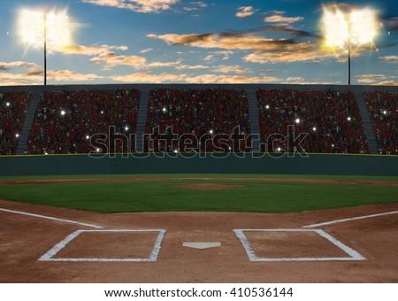 Baseball Stadium at sunset - stock photo