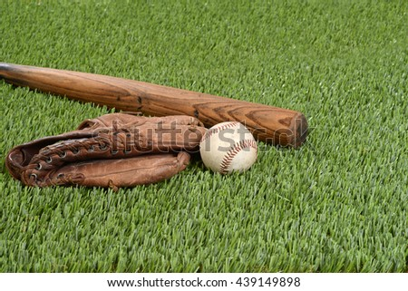 baseball with glove and bat - stock photo
