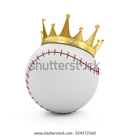 Baseball with Golden Crown isolated on white background. Concept of Success. Sport and Recreation Concept - stock photo