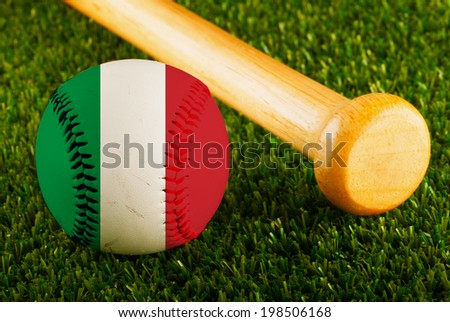 Baseball with Italy flag and bat over a background of green grass - stock photo