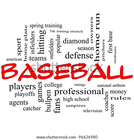 Baseball Word Cloud Concept in red caps with great terms such as playoffs, innings, home run, pitchers, home plate, games and more. - stock photo