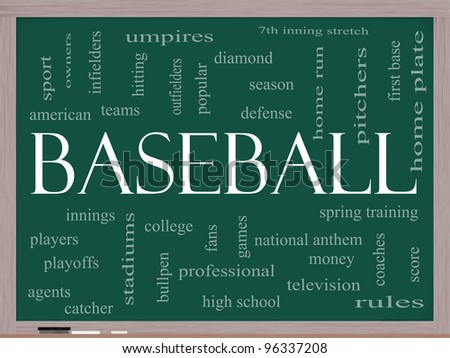 Baseball Word Cloud Concept on a Chalkboard with great terms such as innings, home run, pitchers, home plate, games and more. - stock photo