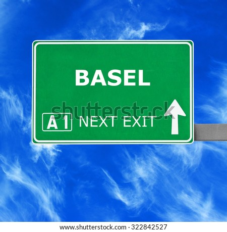 BASEL road sign against clear blue sky