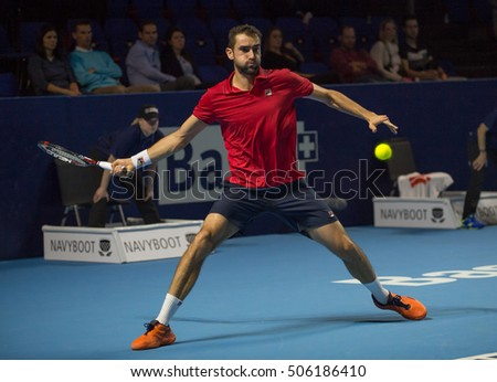 BASEL, SWITZERLAND - OCT 28: at the ATP 500 World Tour Swiss Indoors Tennis Tournament at St.Jakobshalle in Basel Switzerland on October 28, 2016