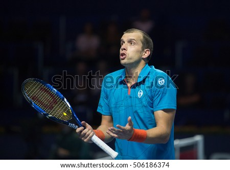 BASEL, SWITZERLAND - OCT 28: Gilles Muller in action vs Federico Delbonis at the ATP 500 World Tour Swiss Indoors Tennis Tournament at St.Jakobshalle in Basel Switzerland on October 28 2016