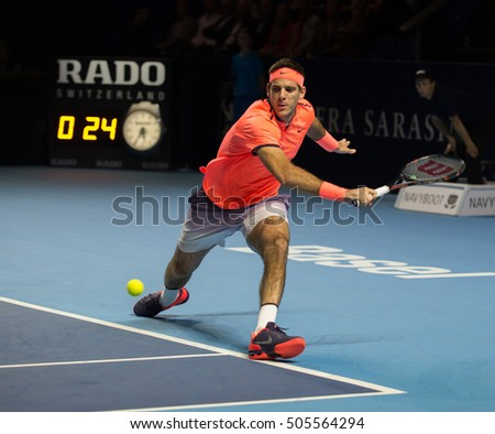 BASEL, SWITZERLAND - OCT 27: Juan Martin del Potro in action vs David Goffin at the ATP 500 World Tour Swiss Indoors Tennis Tournament at St.Jakobshalle in Basel Switzerland on October 27, 2016