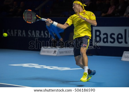 BASEL, SWITZERLAND - OCT 28: Kei Nishikori in action vs Juan Martin del Potro at the ATP 500 World Tour Swiss Indoors Tennis Tournament at St.Jakobshalle in Basel Switzerland on October 28, 2016