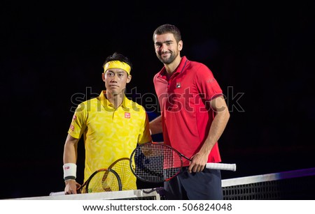 BASEL, SWITZERLAND - OCT 30: Kei Nishikori (l) and Marin Cilic at the ATP 500 World Tour, Swiss Indoors Tennis Tournament at St. Jakobshalle in Basel, Switzerland on October 30, 2016