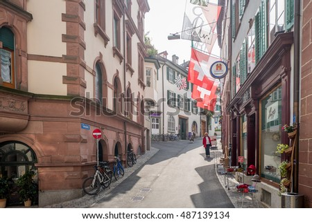 Basel, Switzerland: september 20 2016: traditional streets in Ba