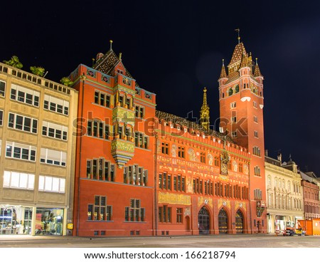 Basel Town Hall (Rathaus) at night - Switzerland - stock photo