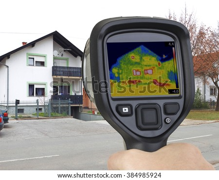 Basement Garage Heat Leak Thermal Imaging - stock photo