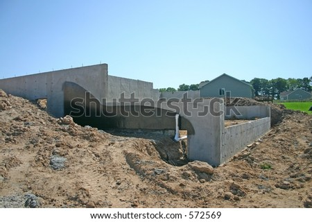Basement Walls and Foundation to a New Home - stock photo
