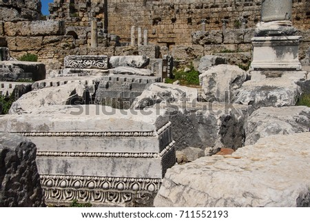 Bases of broken columns and ancient ruins of  Perge,  Turkey