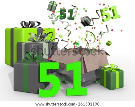 Bash with confetti and gifts for number 51 - stock photo