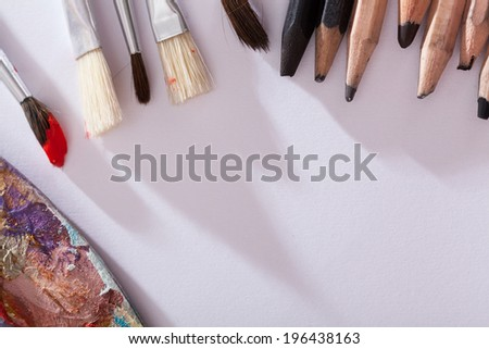 Basic art materials for drawing and painting