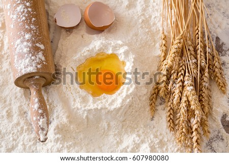 Basic baking ingredients background- Cooking concept