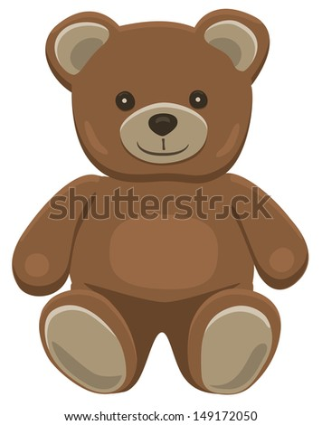 Basic brown teddy bear in solid colors on white.  - stock photo