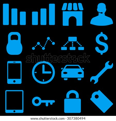 Basic business raster icons. These plain symbols use blue color and isolated on a black background.