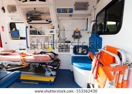 basic equipment for emergency inside ambulance