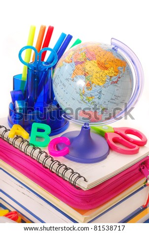 basic equipment  for the beginning of the school year - stock photo