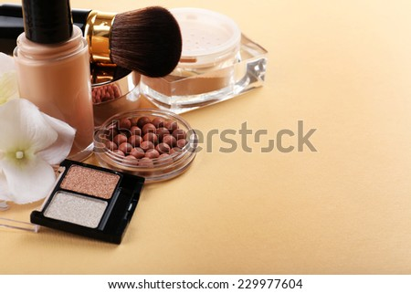 Basic make-up products, close-up - stock photo