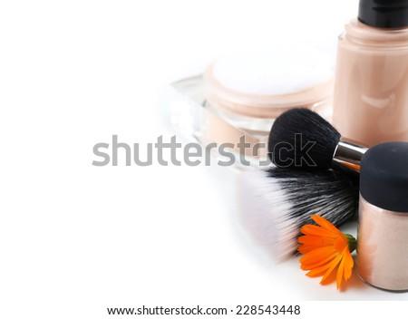 Basic make-up products, isolated on white - stock photo