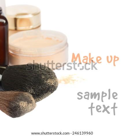 Basic make-up products with soft brushes  isolated on white background - stock photo