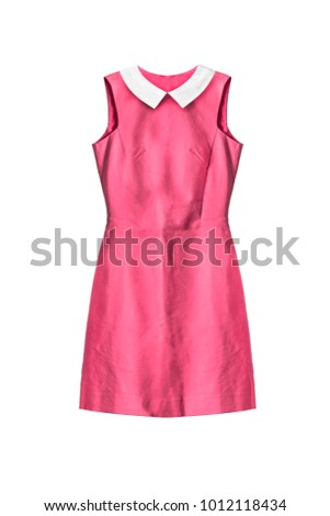 Basic pink mini dress with white cotton collar on white background
