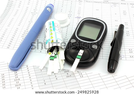 Basic tools for insulinotherapy and diabetics blog - stock photo