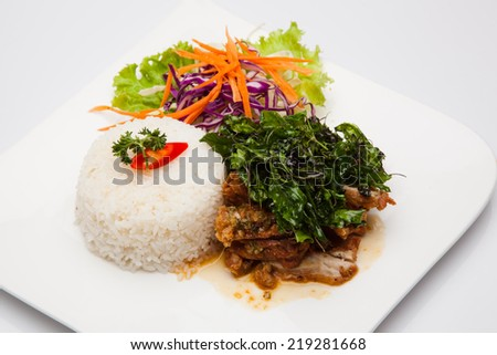 Basil Chicken Fried Rice - stock photo