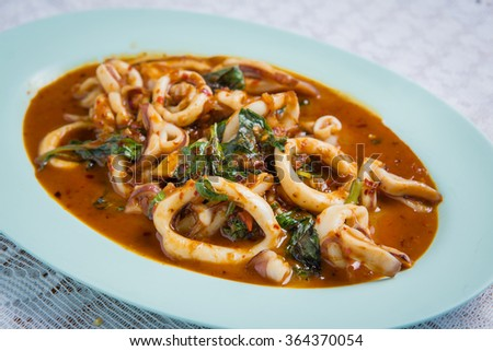 Basil Fried squid food in asia,Thailand - stock photo