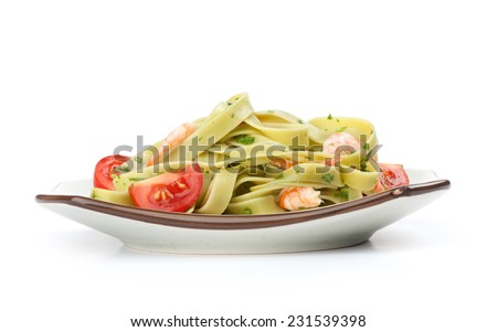 basil noodle with shrimps and tomato isolated on white - stock photo