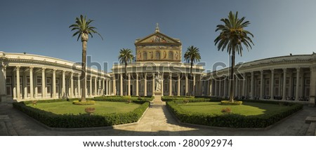 Basil of St. Paul Outside the Walls ( Rome, Italy ) - stock photo