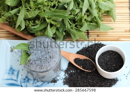 Basil seeds for fiber beverage and raw seed