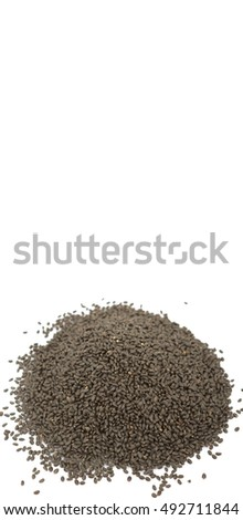 Basil seeds over white background