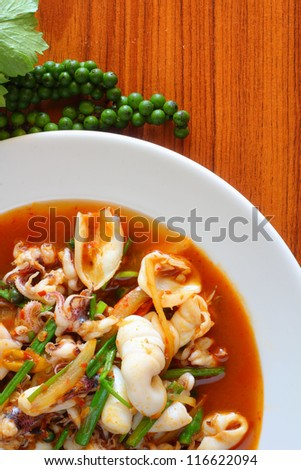 Basil squid and green pepper