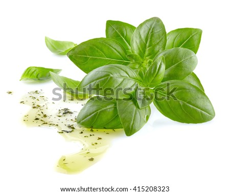 Basil with olive oil