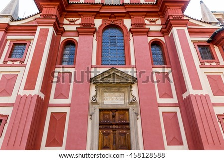 Basilica and St. George's Monastery at Prague Castle in Prague,Czech Republic - stock photo
