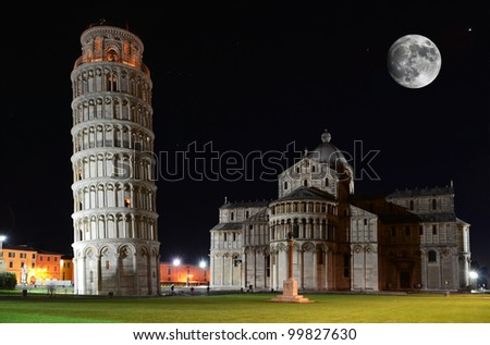 Basilica and the Leaning Tower on the Piazza dei Miracoli in Pisa, Italy - stock photo