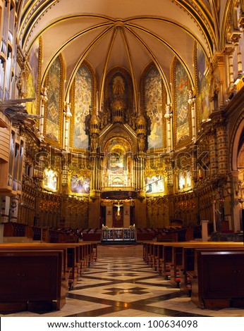 Basilica at the Montserrat Monastery placed in high mountains near the Barcelona, Spain. - stock photo