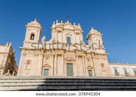 Basilica Cattedrale di San Nicolo.  Roman Catholic cathedral in Noto. Built in the style of the Sicilian Baroque. - stock photo