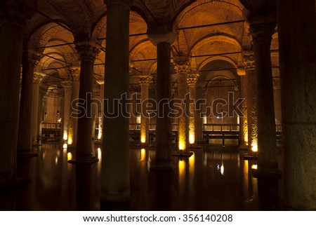 Basilica cistern in Istanbul. - stock photo