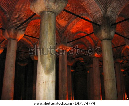 Basilica cistern in Istanbul Turkey - stock photo