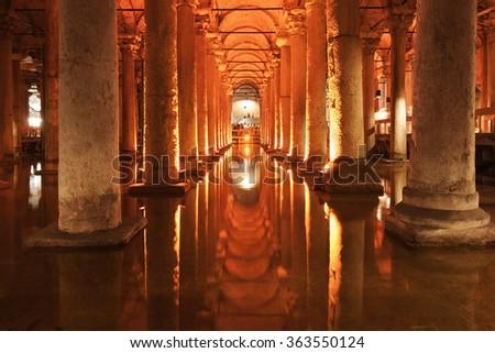 Basilica Cistern in Istanbul, Turkey. - stock photo