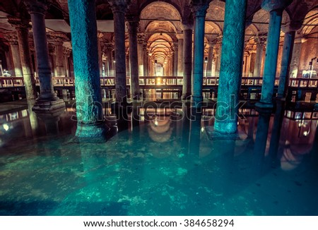 Basilica Cistern is the largest ancient underground cistern in Istanbul, which was used to store water in the past and is now a popular tourist attraction - stock photo