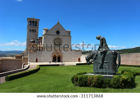 Basilica di San Francesco on top of the hill in Assisi, Italy - stock photo