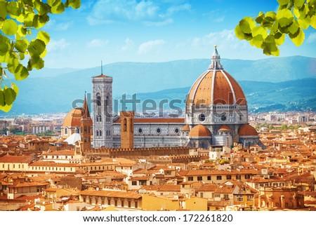 Basilica di Santa Maria del Fiore cathedral in Tuscany, Italy - stock photo