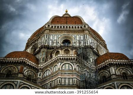 Basilica di Santa Maria del Fiore, or Duomo, (Basilica of Saint Mary of the Flower) in Florence, Italy - stock photo