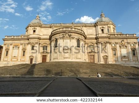 Basilica di Santa Maria Maggiore, Cappella Paolina, view from  Piazza Esquilino in Rome. Italy. - stock photo