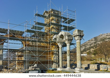 Basilica in the archeological area of ancient Philippi, Eastern Macedonia and Thrace, Greece - stock photo